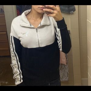 PINK Zip Up Black & White Sequence Sweater